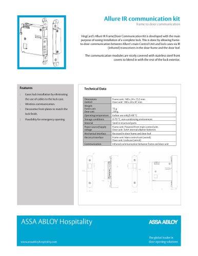 VingCard Allure IR Communication Kit Technical Sheet