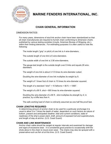 CHAIN GENERAL INFORMATION