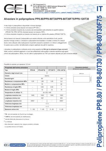 Alveolare in polipropilene PP8.80/PP8-80T30/PP8-80T30F75/PP8-120T30
