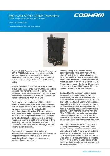 SOLO H.264 SD/HD COFDM Transmitter