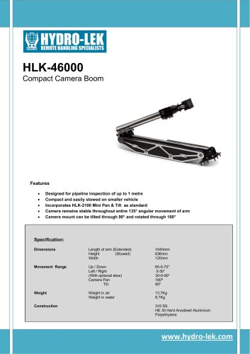 HLK-46000 - Camera Boom with Mini Pan & Tilt
