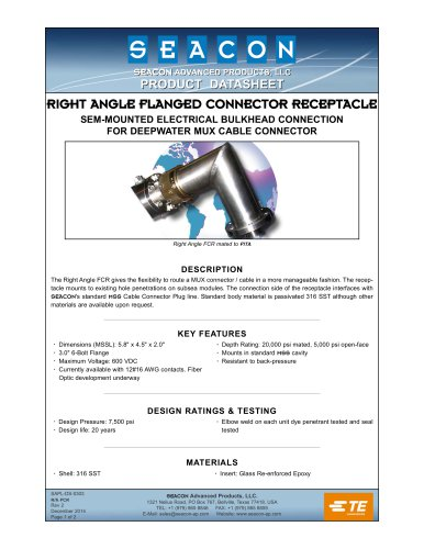 RIGHT ANGLE FLANGED CONNECTOR RECEPTACLE (FCR)