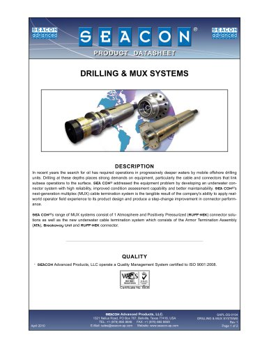 SAPL-DS-0104 Drilling and MUX Systems