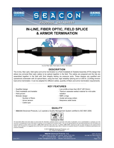 SAPL-DS-0320 In-Line FO Field Splice & Armor Termination Rev 1