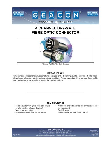 SCE-DS-0001 4 Channel Dry-Mate Fiber Optic Rev 2