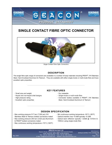 SCE-DS-0011 Single Contact Fibre Optic Rev 1