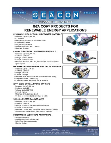 SEACON-DS-0106 Renewable Energy Products Rev 1