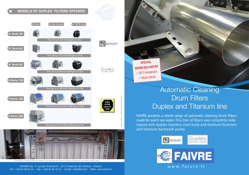 Automatic Cleaning Drum Filters Duplex and Titanium line