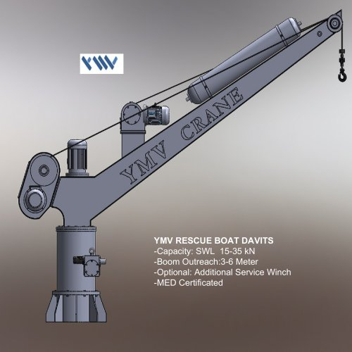 YMV Rescue Boat Davit Technical Drawing